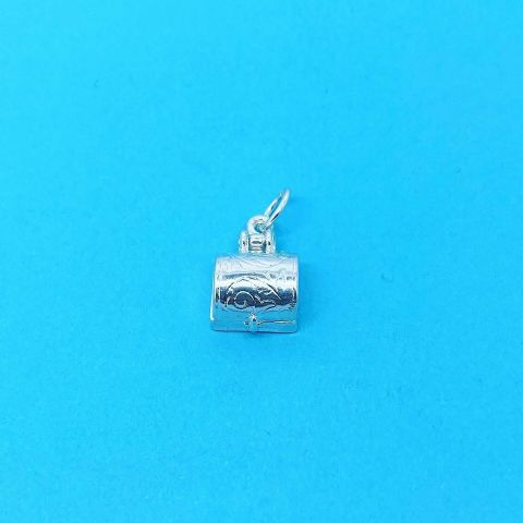 Genuine 925 Sterling Silver Patterned Opening Casket Treasure Chest Charm